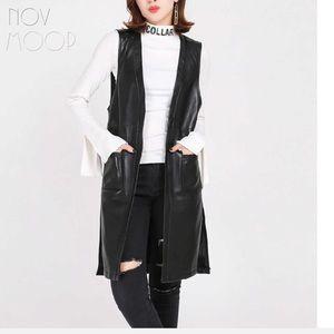 Marc NY Leather Trench coat long vest jacket black